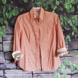 J McLaughlin Orange Pinstriped Silk Trim Shirt 6